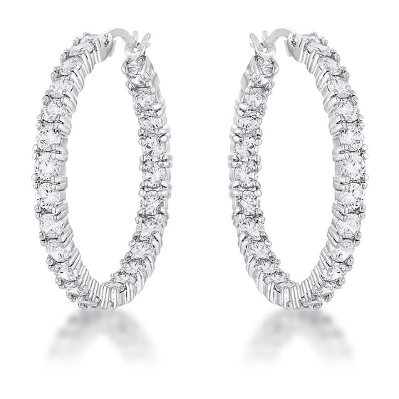 Kinsey 4.8ct CZ White Gold Rhodium Hoop Earrings