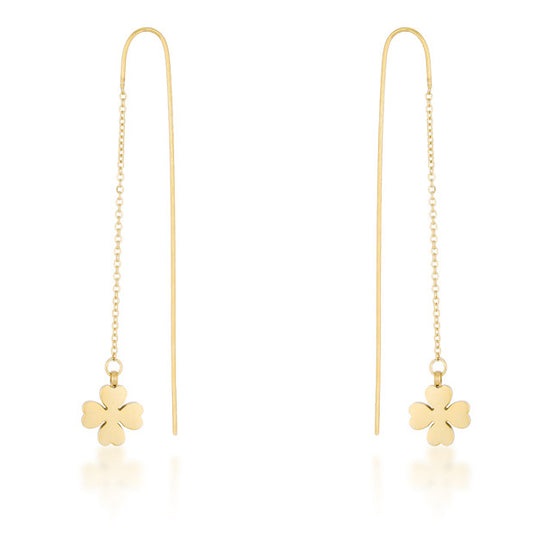 Patricia Gold Stainless Steel Clover Threaded Drop Earrings