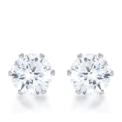 Reign 3.4ct CZ White Gold Rhodium Stainless Steel Stud Earrings