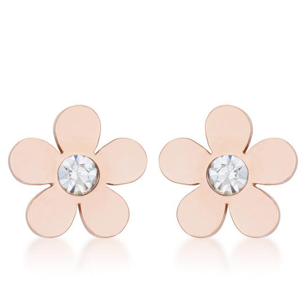 Daisy 0.3ct CZ Rose Gold Stainless Steel Flower Stud Earrings