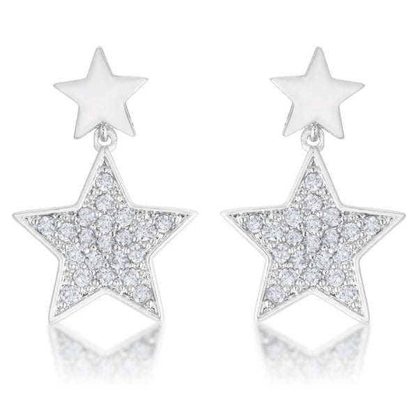 Bianca 0.5ct CZ Rhodium Star Drop Earrings
