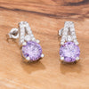 Cute Purple and Clear CZ Stud Earrings