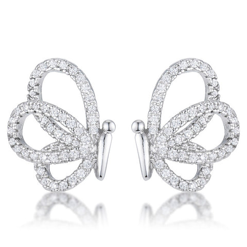 .45 Ct Cubic Zirconia Butterfly Stud Earrings