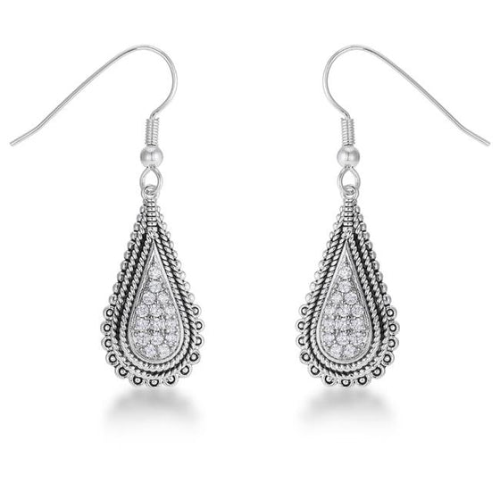 .45 Ct Tear Drop Rhodium Earrings with Cubic Zirconia