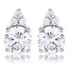 Simple Rhodium Plated 9mm Clear CZ Stud Earring
