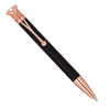 Rose Gold Plated Black Jeweled Crown Pen