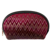 Fancy Burgundy Velvet Chevron Cosmetic Bag