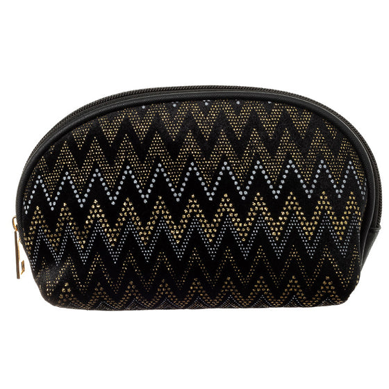 Fancy Black Velvet Chevron Cosmetic Bag