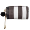 Grey Striped Faux Embossed Leather Cosmetic Bag
