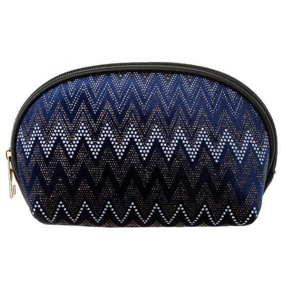 Fancy Navy Velvet Chevron Cosmetic Bag