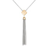 Matte Gold and Rhodium Plated Hammered Clover Tassel Necklace