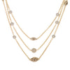 18k Plated Multi Chain CZ Ball Layered Necklace