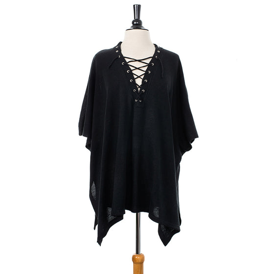 Plush Black Lace-up Knitted Pullover Poncho