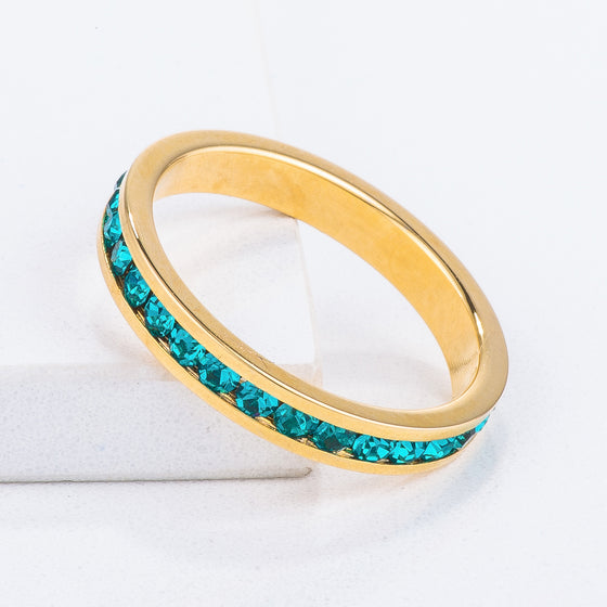 18k Gold Plated Turquoise Crystal Stackable