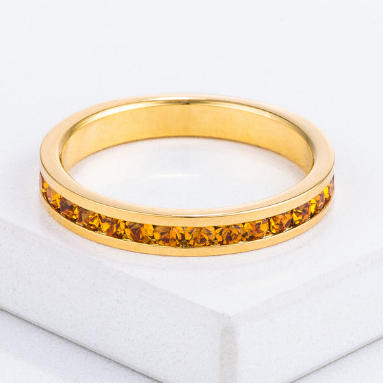 18k Gold Plated Yellow Crystal Stackable