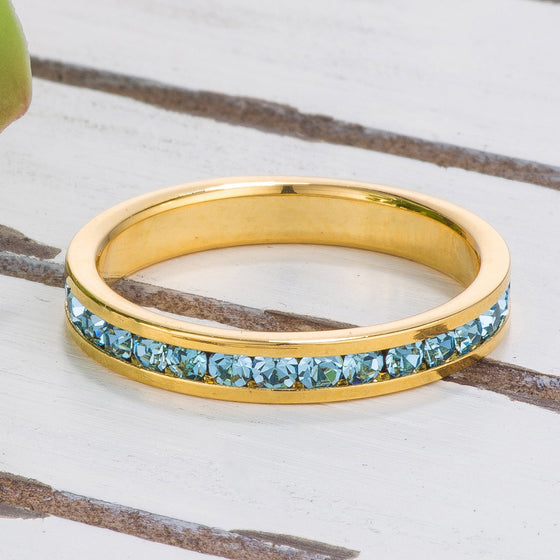 18k Gold Plated Aqua Crystal Stackable