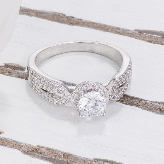Petite Vintage Pave Engagement Ring