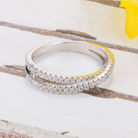 0.4ct CZ White Gold Rhodium Ring