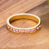 18k Gold Plated Pink Crystal Stackable