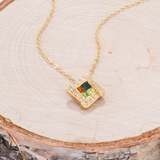 Multicolor Goldtone Abstract Pendant