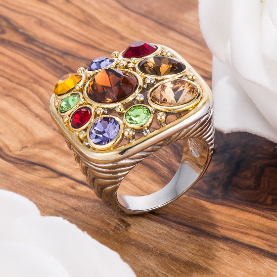 Two Tone Dark Multicolored Crystal Cluster Statement Ring