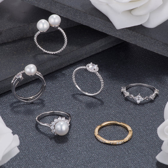 Pearl and CZ Rings