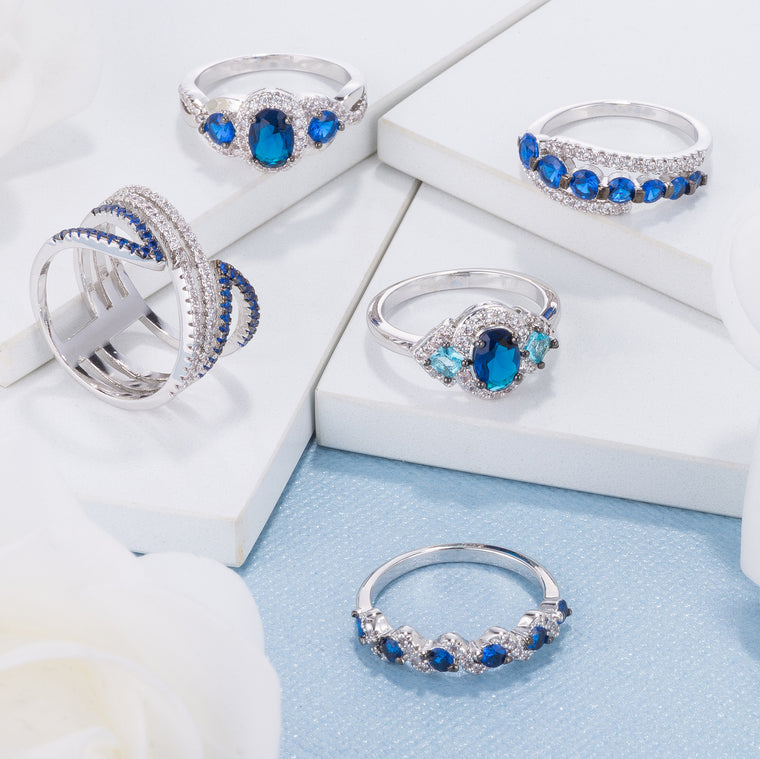 Clear and Sapphire Blue CZ Rings