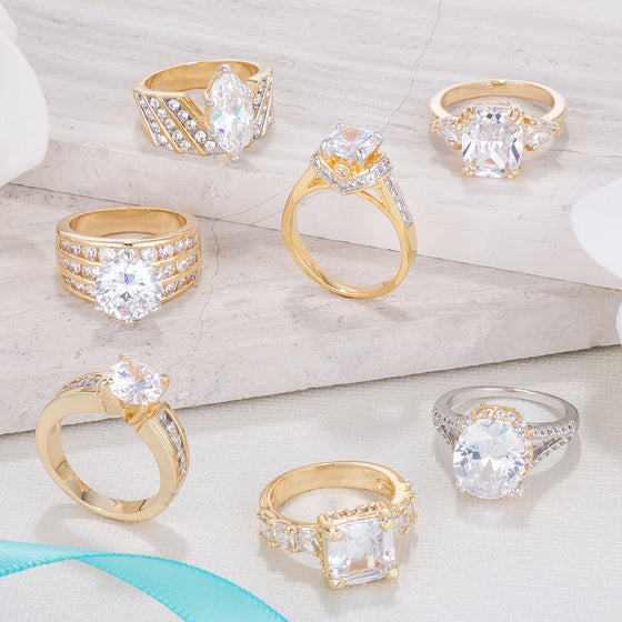 Romantic Gold CZ Engagement Rings