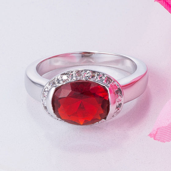 3.15Ct Ruby Red Oval CZ Ring