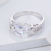 3.2Ct Contemporary Rhodium CZ Ring