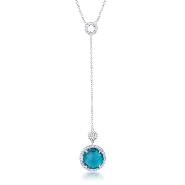 Lori 10.9ct Aqua CZ White Gold Rhodium Classic Drop Lariat Necklace