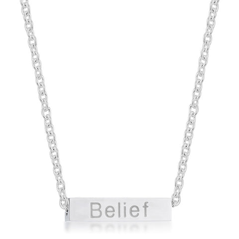 Luck White Gold Rhodium Stainless Steel Bar Script Necklace