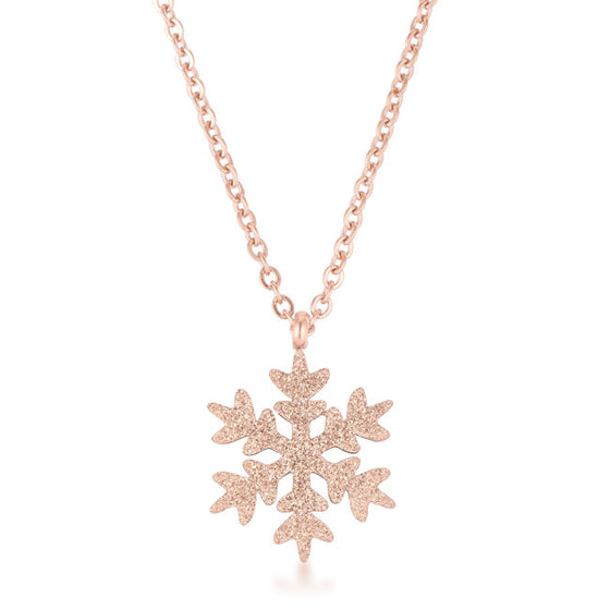 Jenna Rose Gold Stainless Steel Rose Gold Snowflake Necklace
