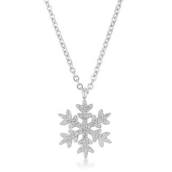 Jenna Stainless Steel Silvertone Snowflake Necklace