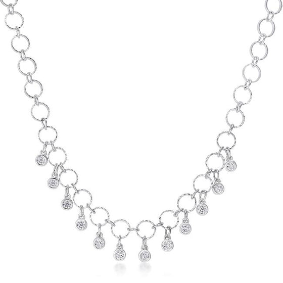 1.32 Ct Stunning Rhodium Necklace with Cubic Zirconia Charms