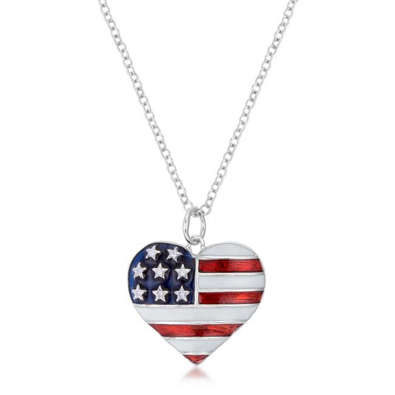 Stars and Stripes Rhodium Necklace with Cubic Zirconia