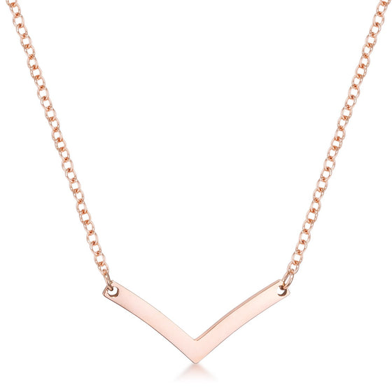 Stainless Steel Rose Goldtone Chevron Necklace