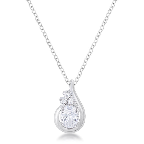 8mm Oval Cut Cubic Zirconia Fashion Pendant