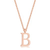 Elaina Rose Gold Stainless Steel B Initial Necklace
