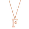 Elaina Rose Gold Stainless Steel F Initial Necklace