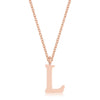 Elaina Rose Gold Stainless Steel L Initial Necklace