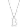Elaina White Gold Rhodium Stainless Steel B Initial Necklace
