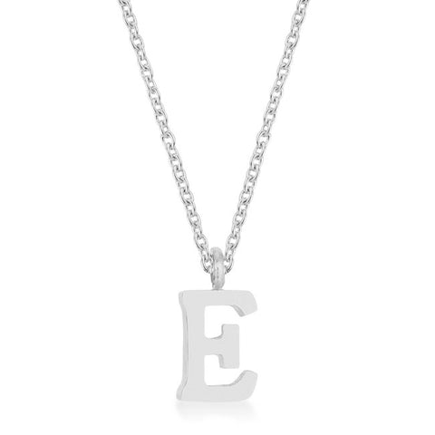 Elaina White Gold Rhodium Stainless Steel E Initial Necklace