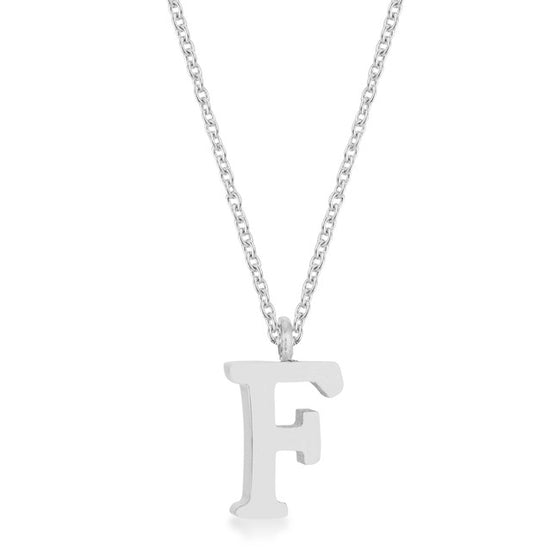 Elaina White Gold Rhodium Stainless Steel F Initial Necklace
