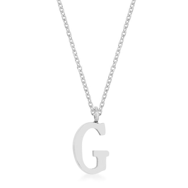 Elaina White Gold Rhodium Stainless Steel G Initial Necklace
