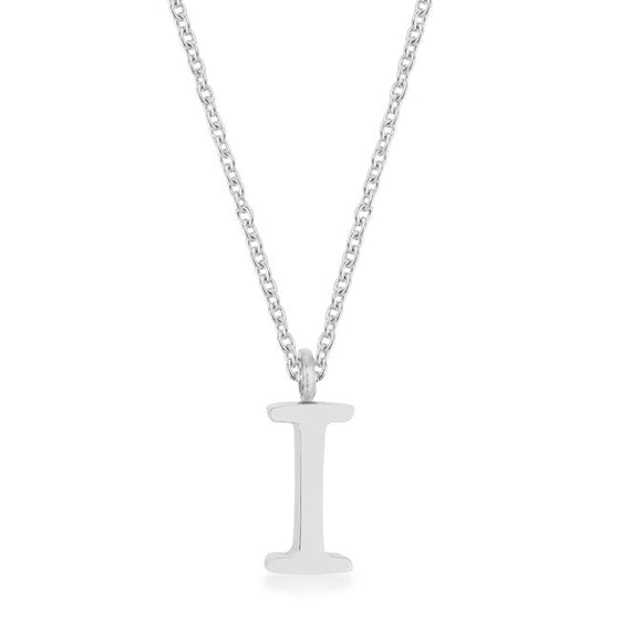 Elaina White Gold Rhodium Stainless Steel I Initial Necklace