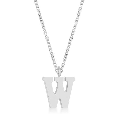 Elaina White Gold Rhodium Stainless Steel W Initial Necklace