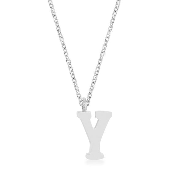 Elaina White Gold Rhodium Stainless Steel Y Initial Necklace