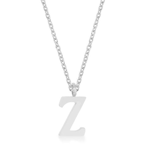 Elaina White Gold Rhodium Stainless Steel Z Initial Necklace