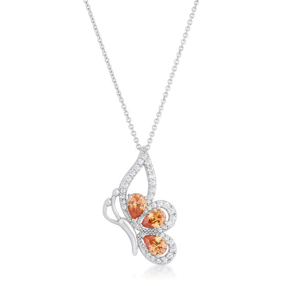 Karen 2.8ct Champagne CZ White Gold Rhoidum Butterfly Drop Necklace